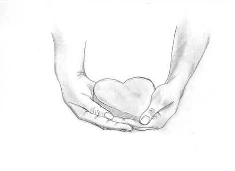 Hand Sketch of hands holding a heart.