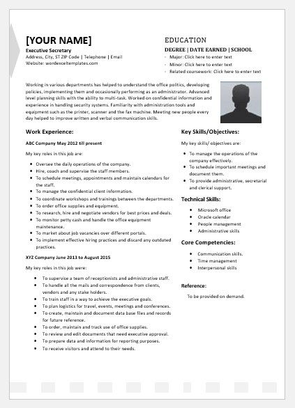 Executive Secretary Resume Template For Word Word Excel Resume Template Resume Design Template Essay Examples