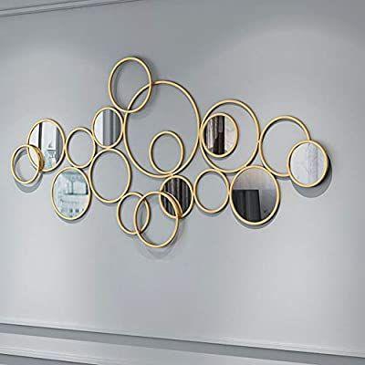 Metal Wall Art Decor, Gold Circles Mirror Wall Decoration