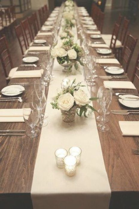 Classic Ivory Wedding Reception Decor Long Wood Tables With White Table Run Long Table Wedding Table Arrangements Wedding Wedding Reception Table Decorations