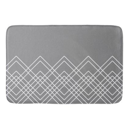 Abstract Geometric Pattern Gray And White Bath Mat Home Gifts