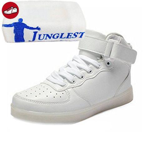 [Present:kleines Handtuch]Weiß EU 41, USB 7 Schuhe Aufladen Damen Sneaker High Herren Sport weise Leuchtend Turnschuhe JUNGLEST® LED Unisex-Erwachsene F
