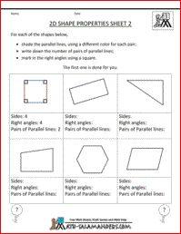 2D Shape Properties Sheet 2, a math geometry sheet for 3rd grade about ...