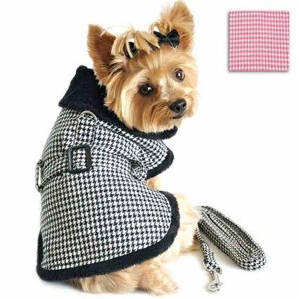 Classic Houndstooth Designer Dog Coat Houndstooth Coat Fleece