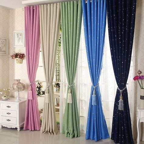 New Blackout Curtain Star Printing Boy Girl Bedroom Living Room Eyelet Drape 1PC