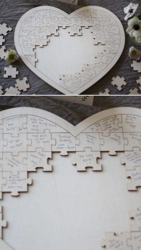 Jigsaw puzzle alternative wedding guest book #weddingguestdressesideas