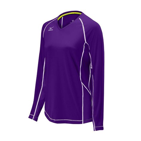 69e9c37015a6 Mizuno Womens Volleyball Apparel - Elite 9 Classic Newport Long Sleeve  Jersey - 440555 Size Large Purple (6060)