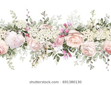 Isolated Seamless Border With Pink Flowers Leaves Vintage Watercolor Floral Pattern With Leaf Watercolor Floral Pattern Floral Watercolor Watercolor Flowers