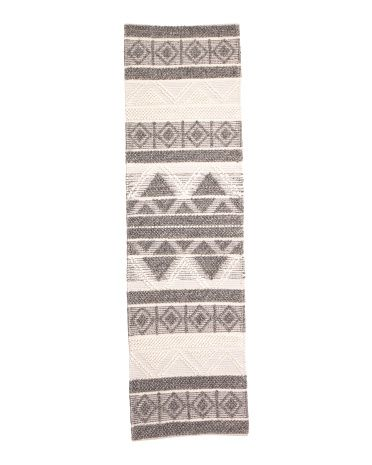 Hand Woven Textured Runner Black White Shop T J Maxx Grey