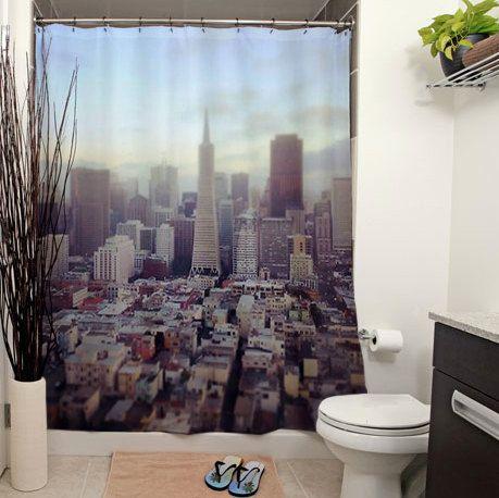 San Francisco Skyline Old Map Shower Curtain   san francisco shower ...