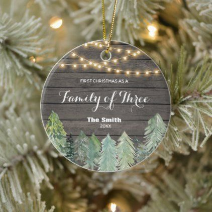 Winter Wood First Christmas As A Family Of Three Ceramic Ornament Zazzle Com First Christmas Rustic Christmas Ornaments First Christmas Ornament