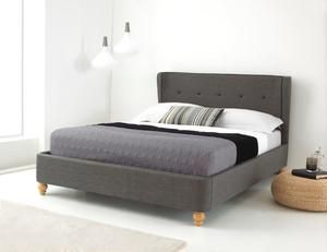 Handcrafted Upholsteded Bed Frame With Tufted Buttons Solid