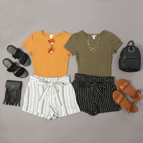 Road Trip Striped Linen Shorts simple and casual outfits, matching outfits, striped shorts, summer o