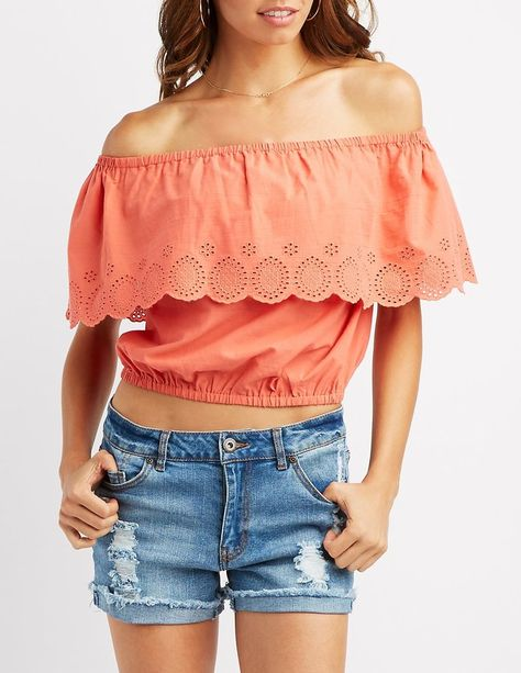 670fff68a5132 Charlotte Russe Eyelet Ruffle Off-The-Shoulder Crop Top