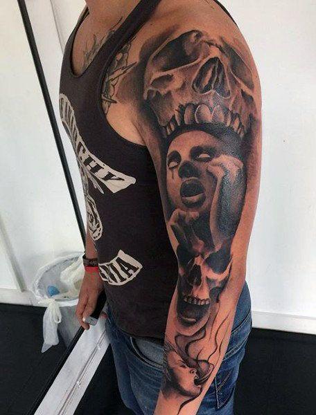 Demonic Tattoo Sleeves For Men Demon Tattoo Satanic Tattoo Design Tattoos For Guys
