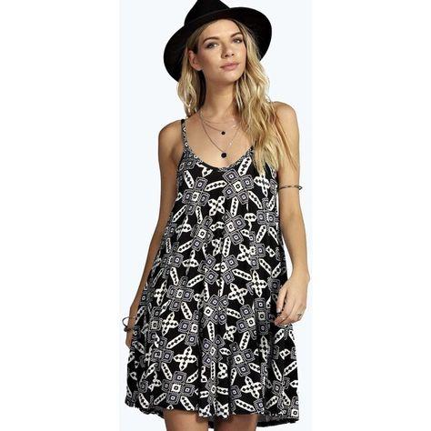 3708789b04 Arisa Black Skater Dress In Daisy Print