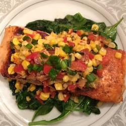 Grilled Salmon with Bacon and Corn Relish Allrecipes.com