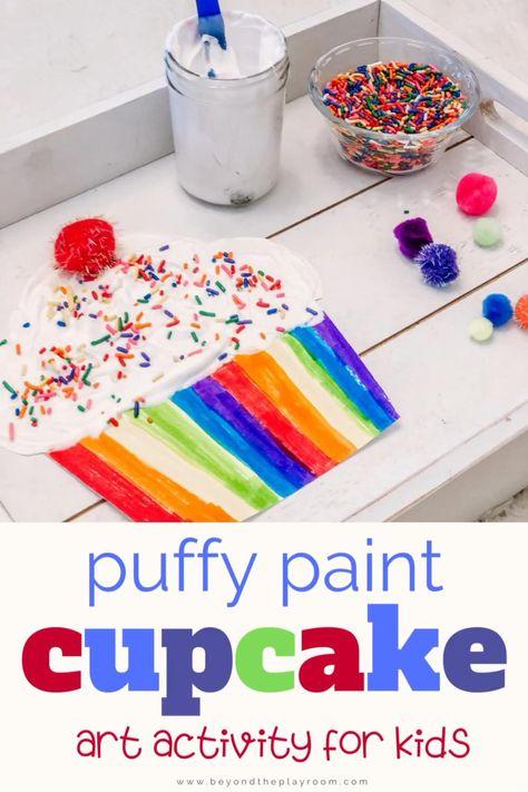 Puffy Paint Cupcake Art
