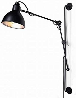 Industrial Wall Mount Black Swing Arm Wall Lights With