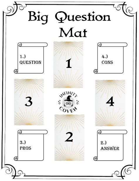 This Tarot Mat Digital Download is only $2.00 and was designed to complement your Tarot reading practice. Any time you have a big question to ask the universe you can count on this mat to guide you to the answer. We also offer a laminated version of this mat to protect it from all the things you use in your tarot craft; water, oils, candle wax, herbs etc. #JoinInfinityCoven #InfinityCoven #TarotMat #TarotSpread #Tarot #TarotPractice #TarotLayout #TarotReader #Witch #Divination #BigQuestion