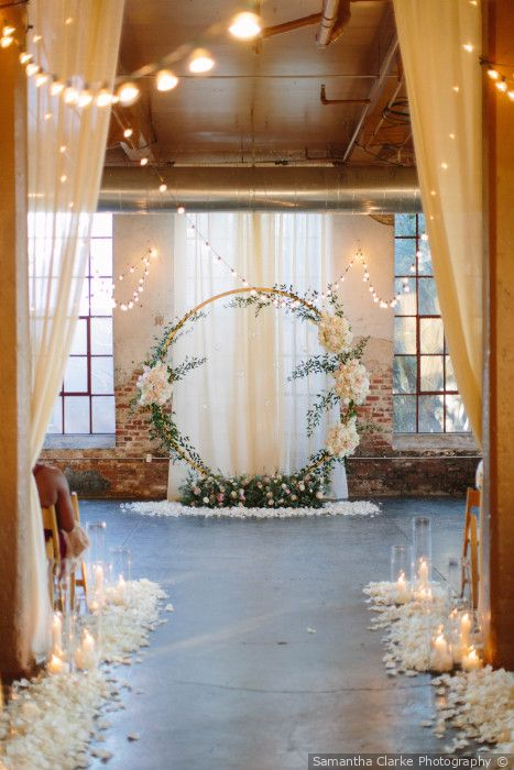 Cara Ben Rustic Winter Wedding In Atlanta Ga Wedding Ceremony Decorations Indoor Wedding Ceremonies Barn Wedding Decorations