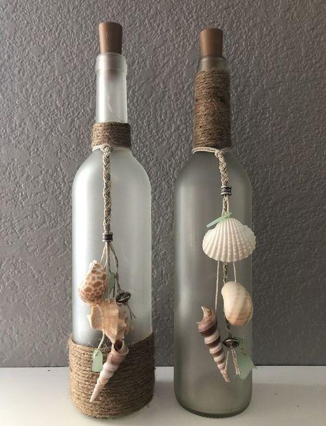 Beach Wine Bottle/ seashells/ burlap/ frosted bottle/ beads/ cork lights/ sea glass/ diy Best Picture For school Craft Wine Bottle Corks, Glass Bottle Crafts, Diy Bottle, Diy With Glass Bottles, Diy Projects With Wine Bottles, Painted Wine Bottles, Decorative Wine Bottles, Wine Bottles Decor, Wine Bottle Decorations