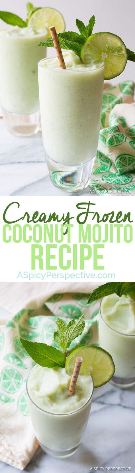 The Best Frozen Coconut Mojito Recipe - A creamy tropical cocktail that combines the appeal of a pina colada with refreshing mojito flavors of mint, lime and coconut rum. Craft Cocktails, Party Drinks, Cocktail Drinks, Fun Drinks, Beverages, Mixed Drinks, Coconut Mojito, Coconut Rum, Refreshing Drinks