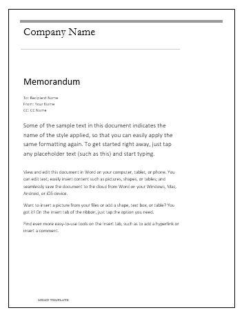 Memo-Template wordstemplates Pinterest Template