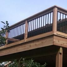 evolve aluminum deck railing in black with cedar decking posts and rails decking pinterest aluminum deck railing aluminum decking and aluminum