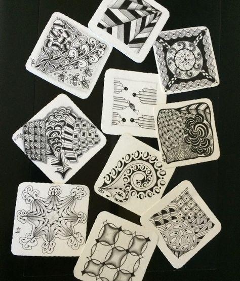 Tin of Bijou Drawing Paper Bijou Zentangle Tiles with Pen Pencil and Tortillion Artist Drawing Paper Supply Drawing Kit Zentangle Kit