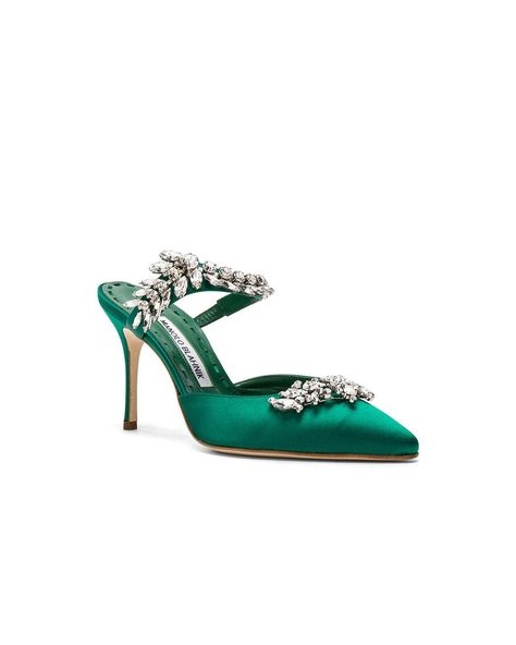 21172c74165b Lyst - Manolo Blahnik Satin Lurum 90 Heels in Green
