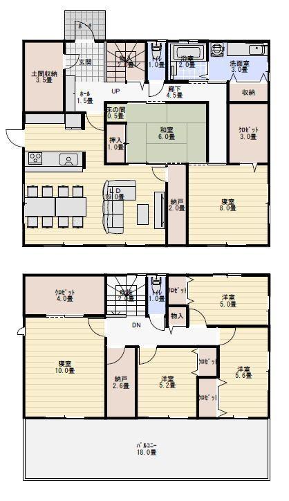 50坪6ldk玄関共有の二世帯住宅間取り例 二世帯住宅間取り 2世帯