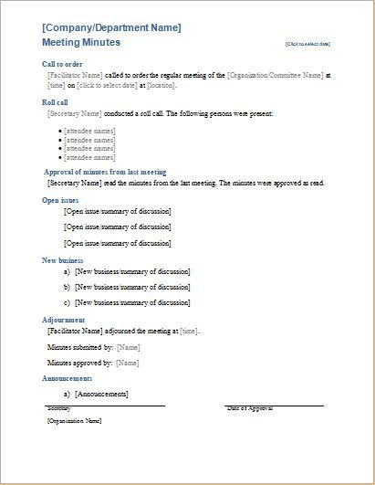 Meeting Minutes Sheet Template DOWNLOAD at    www - format of meeting agenda