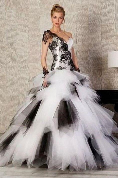 Vestiti Da Sposa Bianco E Nero.Amina Abiti Da Sposa Bianco E Nero Confezionato In Raso Tulle E