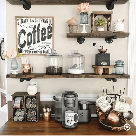 Best Home Coffee Bar Ideas 2019 - Home Decor & Interior Design - Coffee Coffee Bar Station, Coffee Station Kitchen, Coffee Bars In Kitchen, Coffee Bar Home, Home Coffee Stations, Coffee Bar Ideas, Bar In Kitchen, Tea Station, Kitchen Buffet