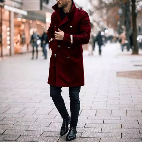 Male Chic Plain Button Thicken Woolen Long Coat is part of Long coat Date Patten Plain Please Note All dimensions are measured manually with a deviation of 1 to Size Chart Length Shoulder Sl -