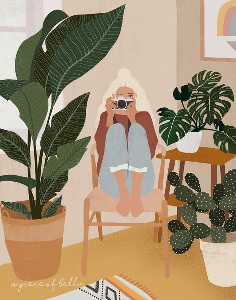 Plants with Me Illustration,Woman illustration print,Home Illustration,Girl Art,Illustration Print,Digital Art,Wall Decor