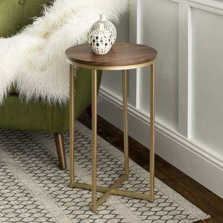 Manor Park Round Side Table Multiple Finishes Dark Walnut Gold Living Room Side Table Round Side Table Marble Side Tables