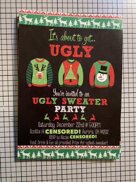 Ugly Sweater Party Invitation, It\u0027s About To Get Ugly, Christmas