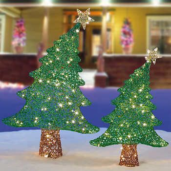 Whimsical Led Trees Set Of 2 Outdoor Christmas Tree Whimsical Christmas Trees Christmas Tree Decorations