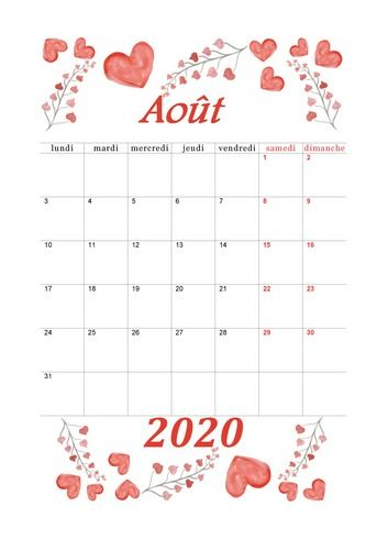 Août 2020   Aquarelle #calendrier2020 #aout2020