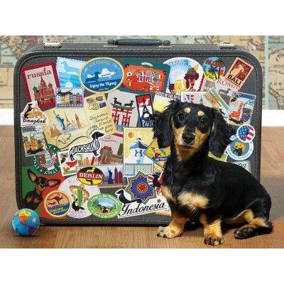 Puzzle Xxl Teile Dachshund Round The World Niedliche Welpen Hund Und Katze Puzzles
