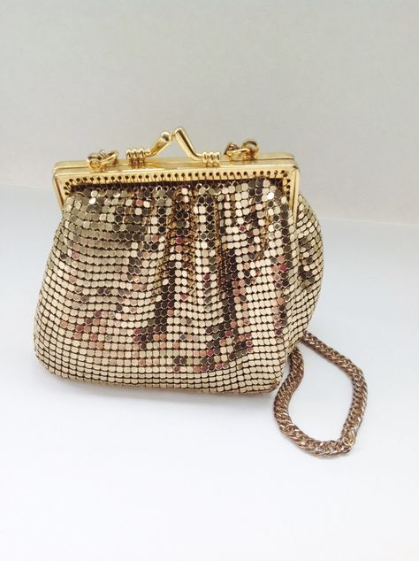 Vintage Gold Purse Whiting Davis Mesh Bag Small