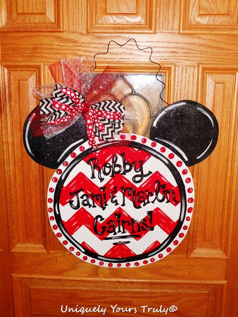 Check out this item in my Etsy shop https://www.etsy.com/listing/236796297/chevron-mickey-mouse-wooden-door-hanger