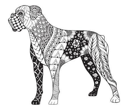 Boxer Dog Stylized Illustration Freehand Pencil Hand Drawn Boxer Dog Tattoo Boxer Dogs Dog Coloring Page