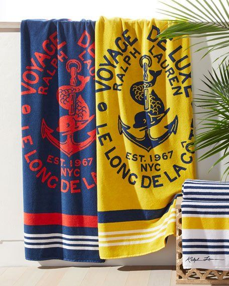 Ralph Lauren Home Kacie Beach Towel With Crest With Images