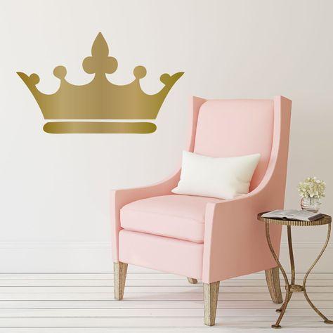 princess crown wall decal 25in x 15in metallic gold vinyl decorative