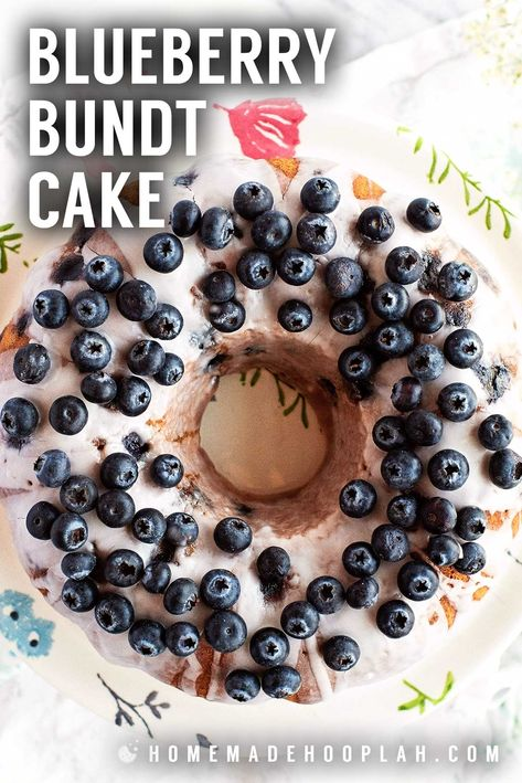 Blueberry Bundt Cake! This deliciously soft and crumbly sour cream blueberry bundt cake is chock-full of fresh (or frozen!) blueberries and topped with a simple sugar glaze. | HomemadeHooplah.com