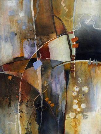 Neutral Elements by Hailey E. Herrera Watermedia #abstractart