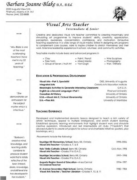 Visual Arts Teacher Resume
